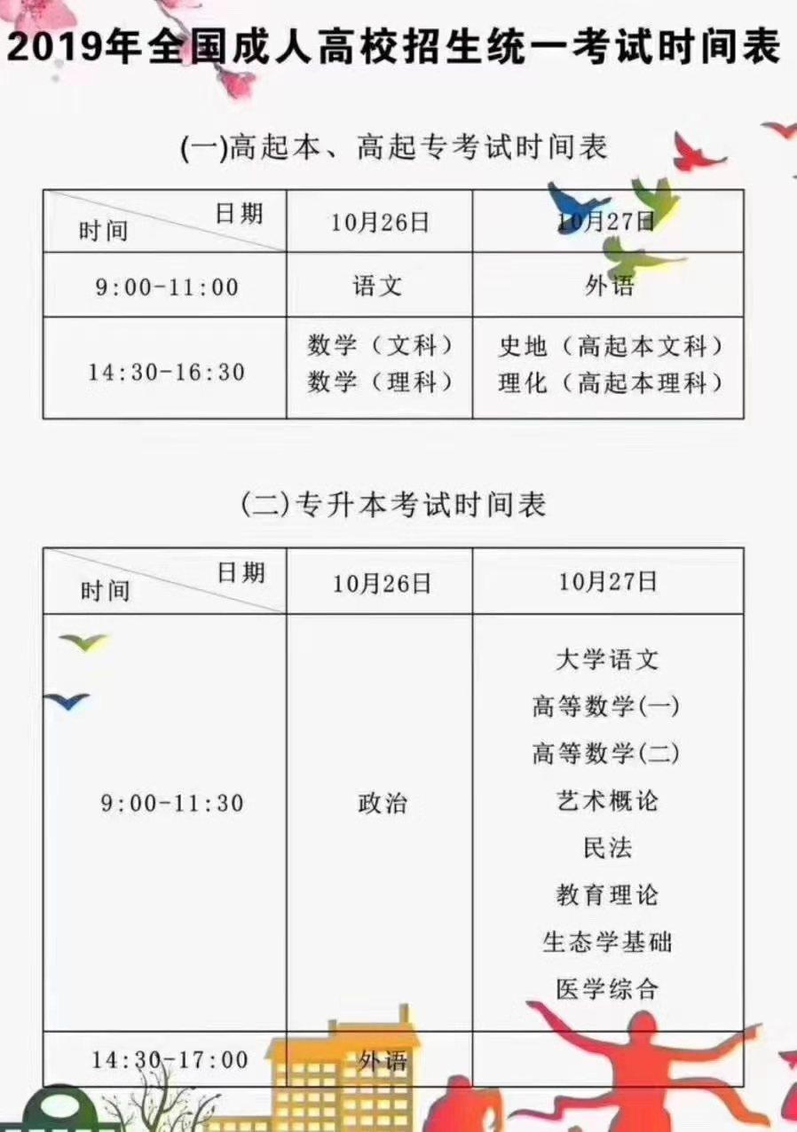 重大消息:2019年湖北省成人高考教育报名时间考试时间已经确定